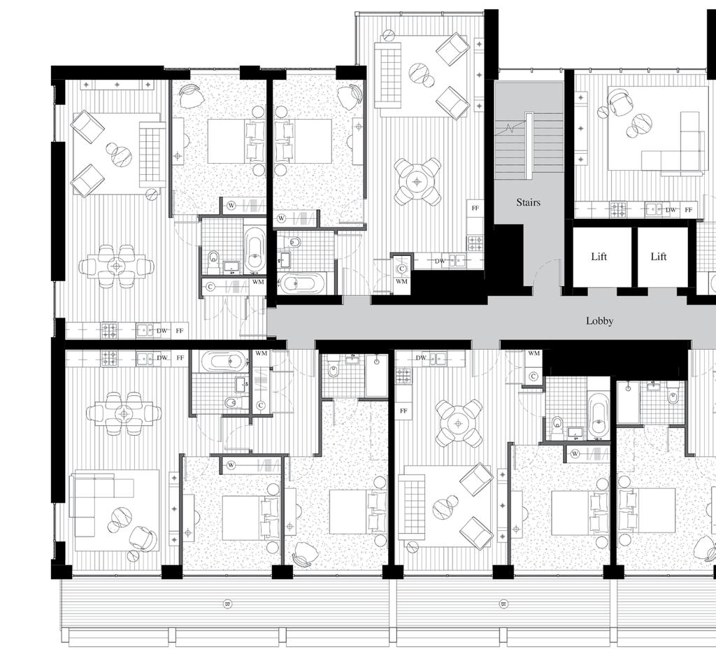 N.01 1 bedroom 60.6 sq.m / 652 sq.ft 8840 mm x 4540 mm 4330 mm x 3220 mm.02 1 bedroom 59.8 sq.m / 644 sq.ft 8620 mm x 4000 mm 4770 mm x 3080 mm 07 06 05 03 02 01 GF.07 2 bedroom 80.