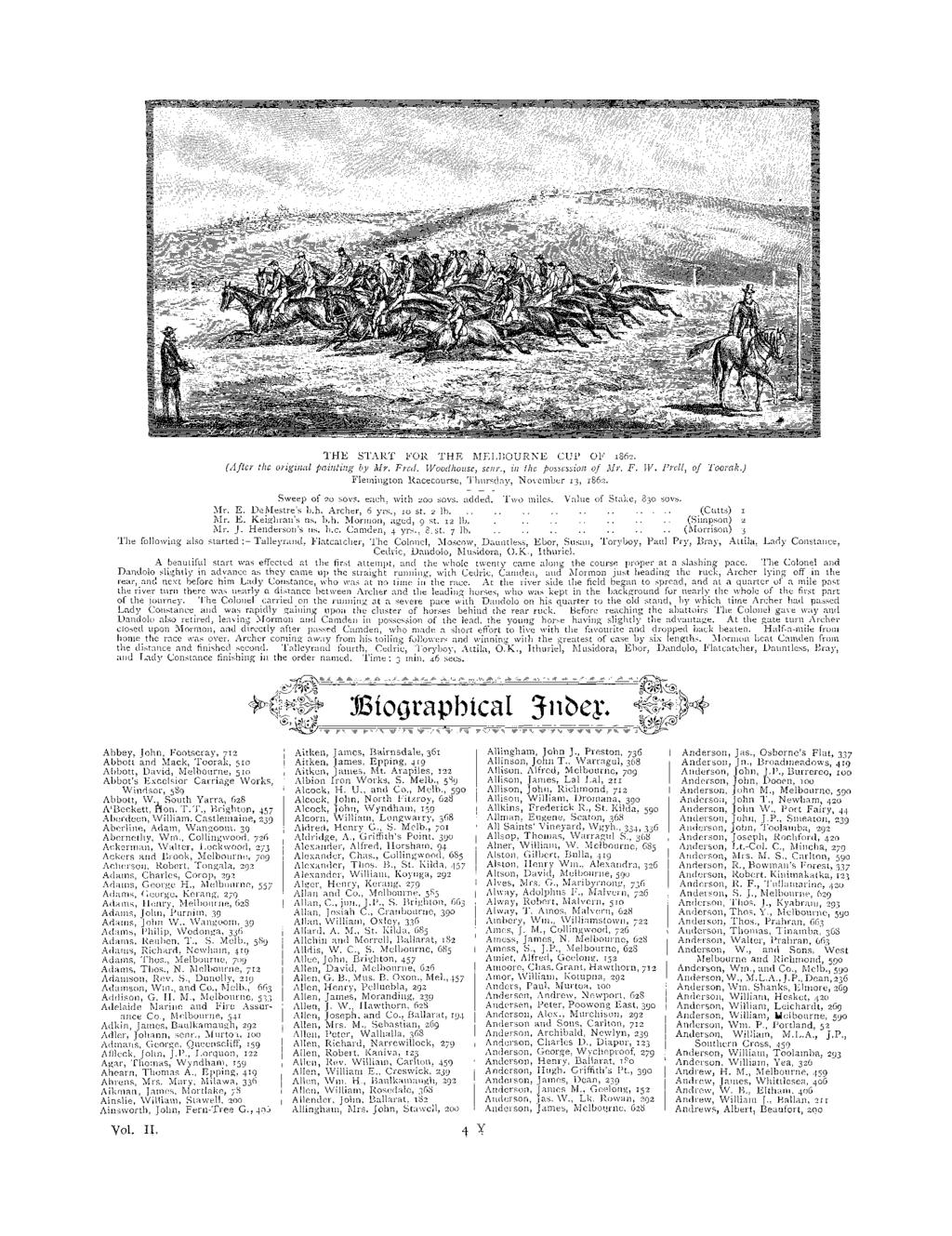 THE START FOR THE MELBOURNE CUP OF 1862. (After the original painting by Mr. Fred. Woodhouse, sear,, in the possession of Mr. F. W. Fred, of Tooreok.