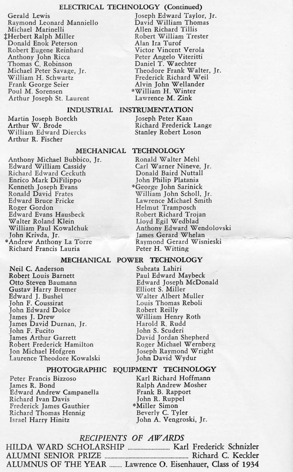 ELECTRICAL TECHNOLOGY (Continued) Gerald Lewis Joseph Edward Taylor, Jr.