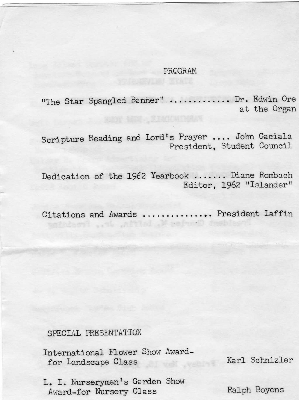 "PROGRAM ""The Star Spangled Banner"" Dr."
