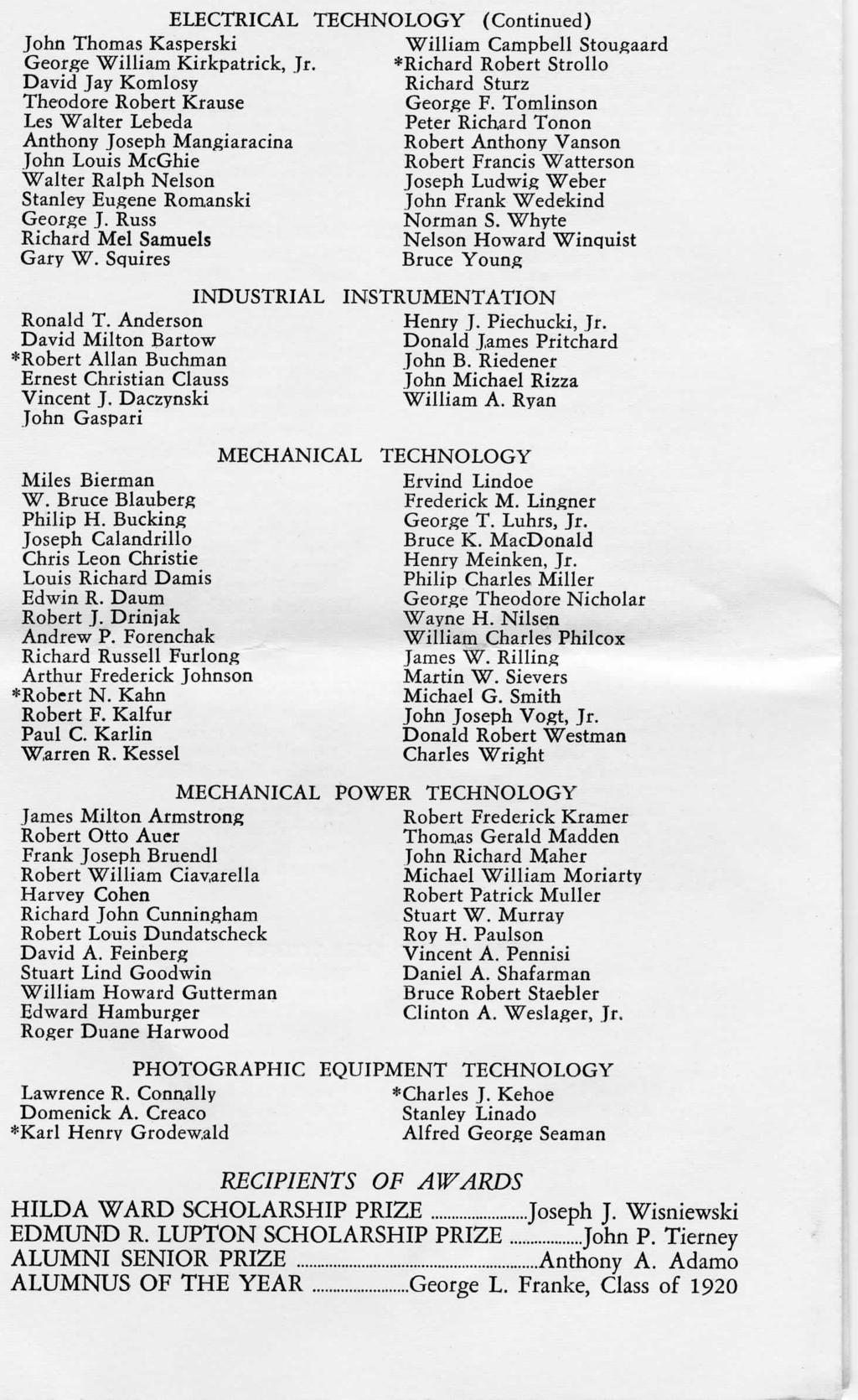 ELECTRICAL TECHNOLOGY (Continued) John Thomas Kasperski George William Kirkpatrick, Jr.