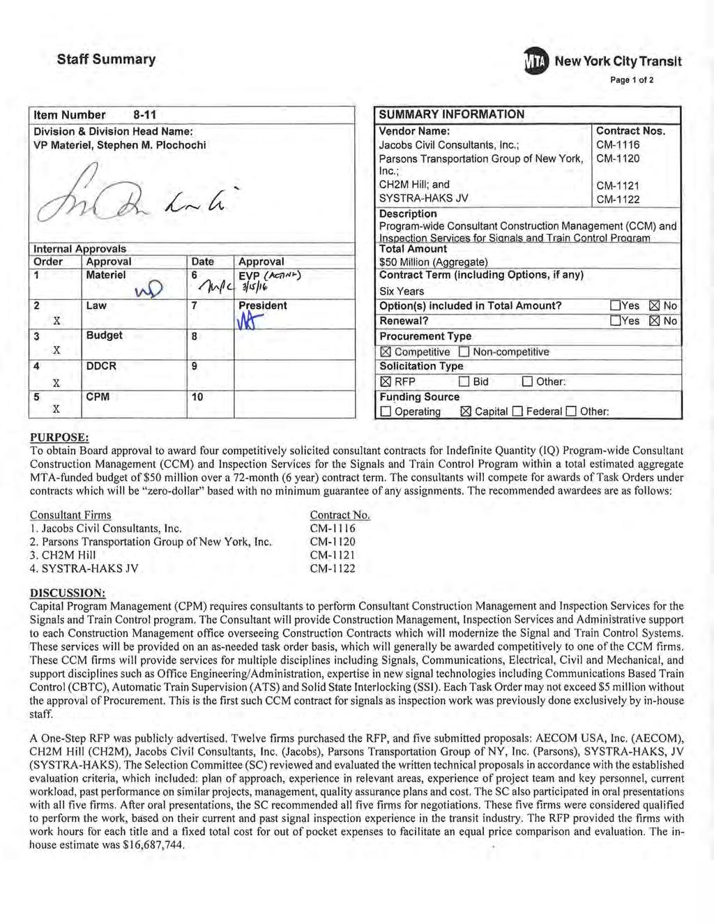 Staff Summary 8 New York City Transit Page 1 of 2 Item Number 8-11 Division & Division Head Name: VP Materiel, Stephen M.