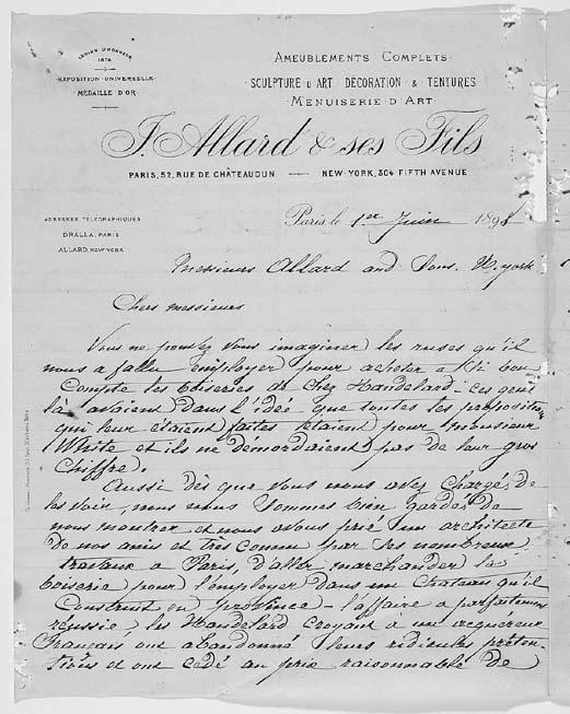 16. Letter from Jules Allard to Henri Bouché at Allard & Sons, New York, June 1, 1898, instructing him to alert Stanford White to Allard s actions in Paris to procure Handelard s Black Choir (see