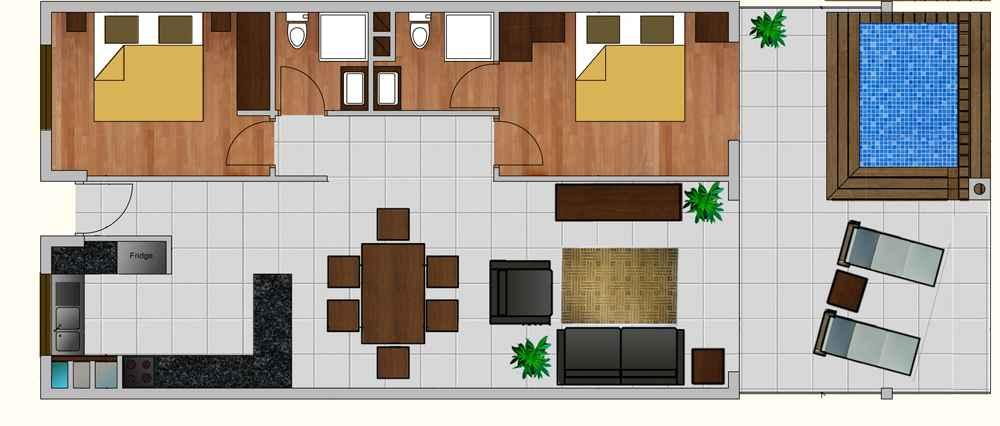 - The maximum size for front balcony pools is indicated on the floor plan (an