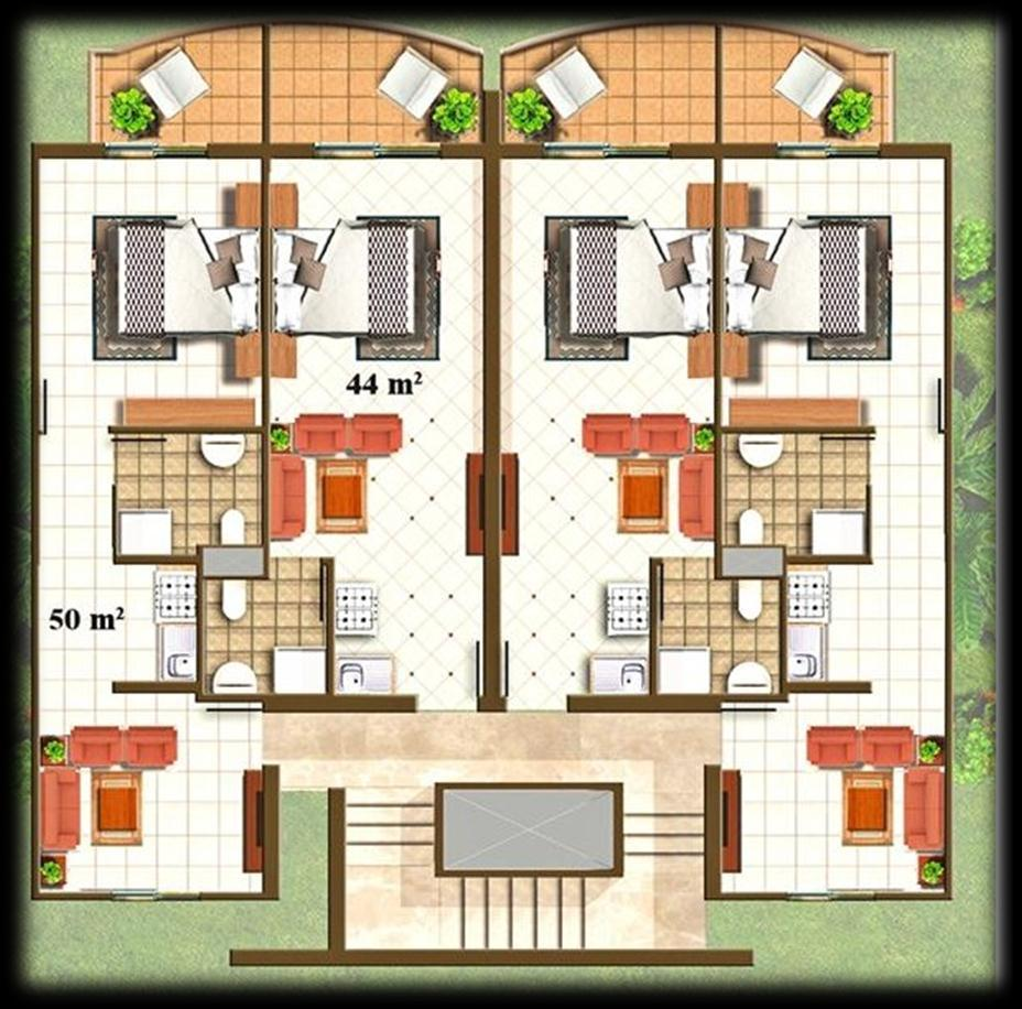 Studios apartments Size: 44 m2. Optional: with private garden.