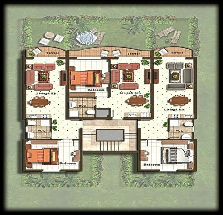 1 Bedroom apartments Size: 50 & 66 m2. Optional: with private garden.
