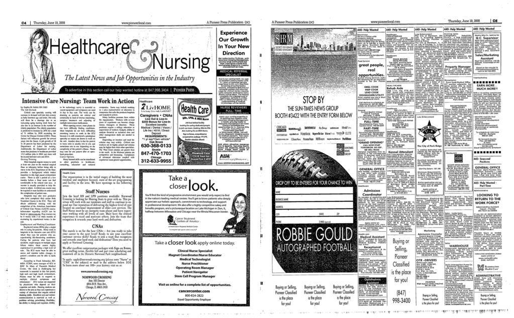 r' C4 Thursday,Junel9,2008 wwwpioneerlocalcom A Pioneer Press Publication (Dc) A Pioneer Press Publication (Dc) wwwpioneerlocalcom Thursday, June 19, 2008 05 ntensive Care Nursing: Team Work in