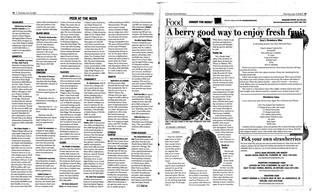 S 58 Thursday, June 19, 2008 A Pioneer Press Publication A Pioneer Press Publication Thursday, June 19, 2008 J 59 DEADLNES Submissions for Cornmunity Calendar are required 10 days preceding the date