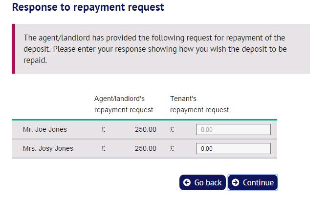 4. Responding to the agent/landlord s repayment request The lead tenant is shown the agent/landlord s repayment request.