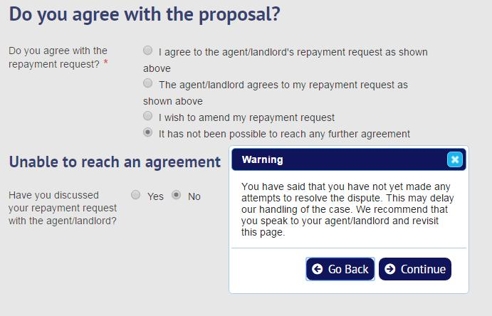 The tenant is asked to confirm whether they have discussed the repayment request with the agent/landlord.