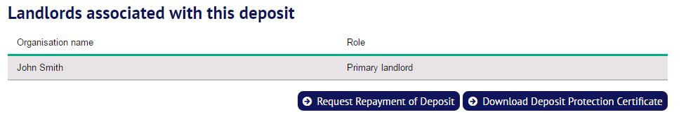 The lead tenant selects the option Request Repayment of Deposit at the bottom of the screen: 3.