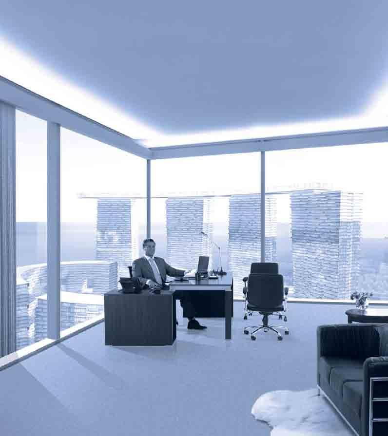 Office Space at The Sky Tower Luxury workspace means high ratio floor to ceiling glass windows, curving facades