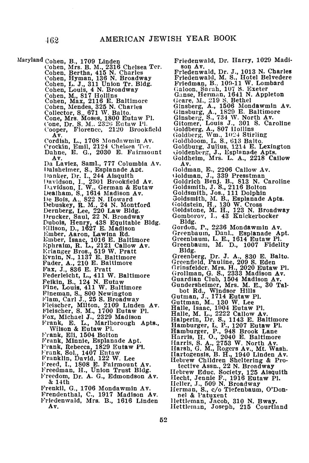 462 AMERICAN JEWISH YEAR BOOK Maryland Cohen, B., 1709 Linden Cohen, Mrs. B. M., 2316 Chelsea Ter. Cohen, Bertha, 415 N. Charles Cohen, Hyman, 136 N. Broadway Cohen, L. J., 311 Union Tr. Bldg.