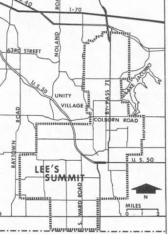 Figure 13: LEE S SUMMIT CITY LIMITS, 1964 Western Electric assured growth north of Lee s Summit and residential and commercial development beyond the city boundaries.
