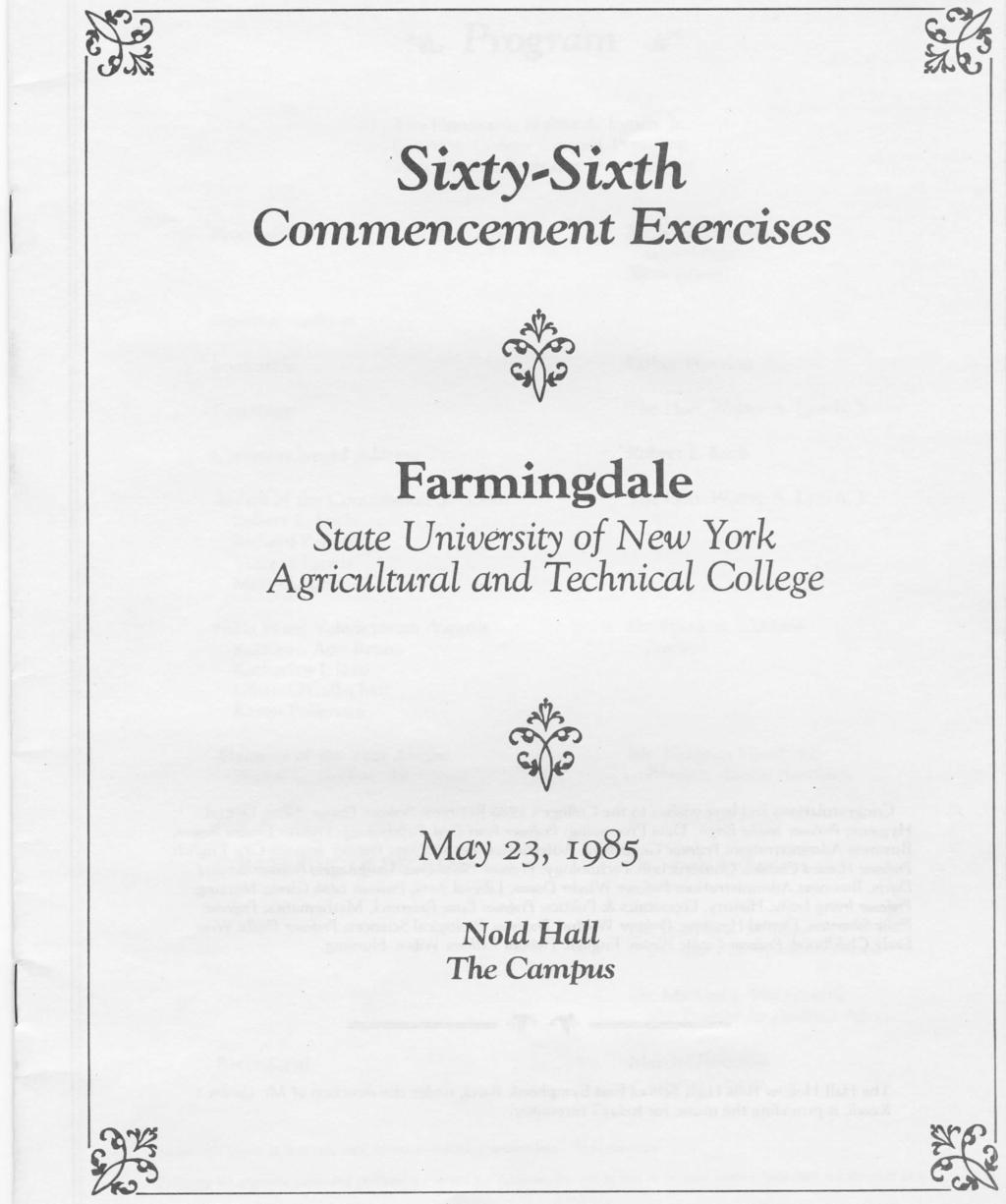 Sixty 'Sixth Commencement Exercises Farmingdale State University o/ New
