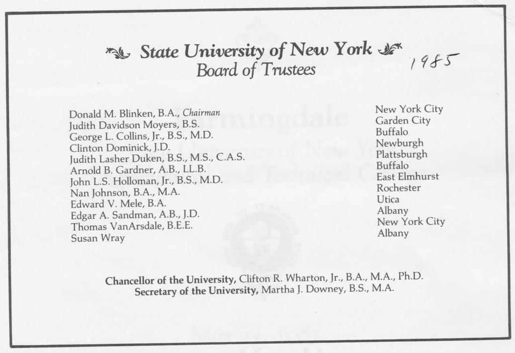 State University of New York Board of Trustees Donald M. Blinken, B.A., Chairman Judith Davidson Movers, B.S. George L. Collins, Jr., B.S., M.D. Clinton Dominick, J.D. Judith Lasher Duken, B.S., M.S., C.A.S. Arnold B.