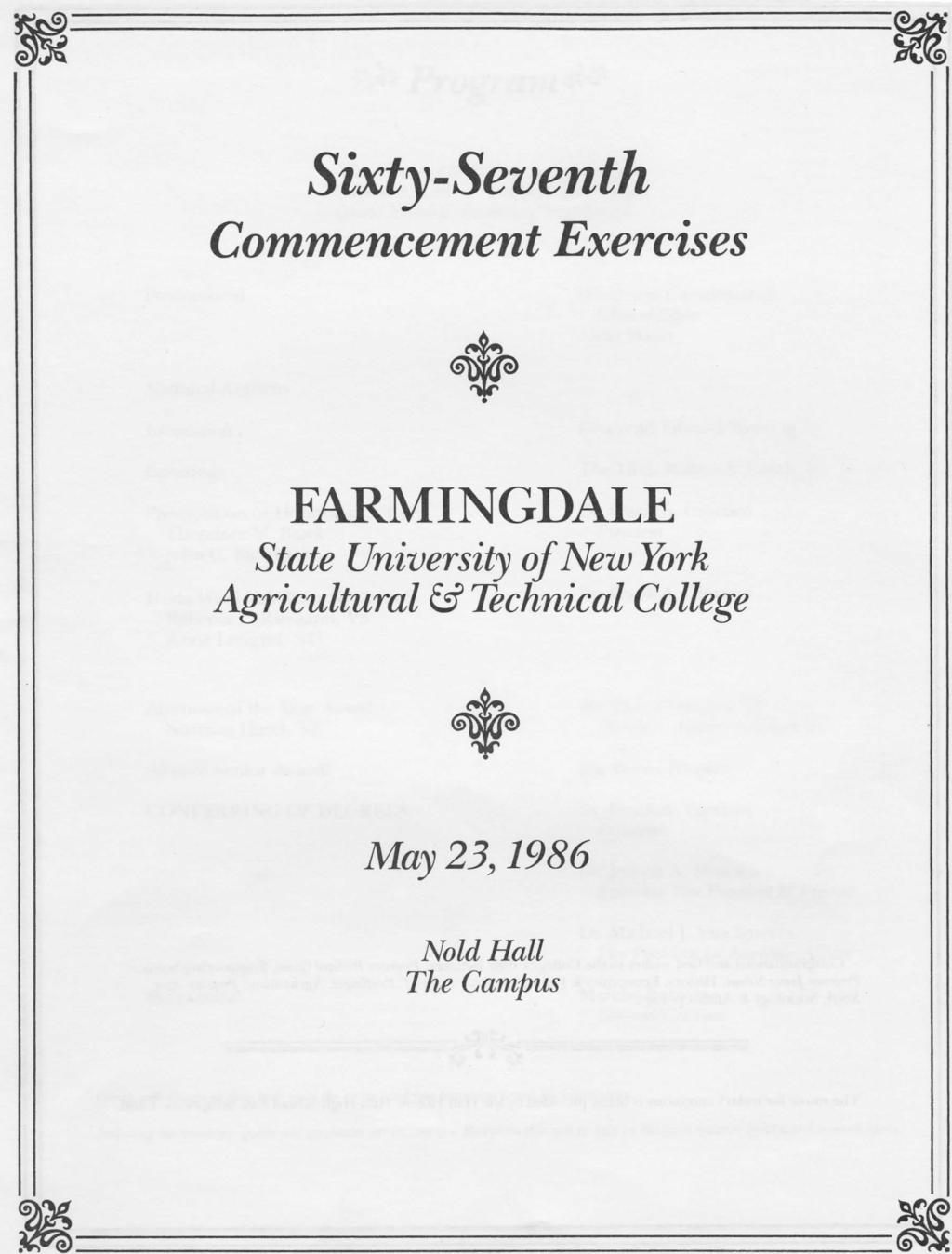 Sixty-Seventh Commencement Exercises FARMINGDALE State University of New