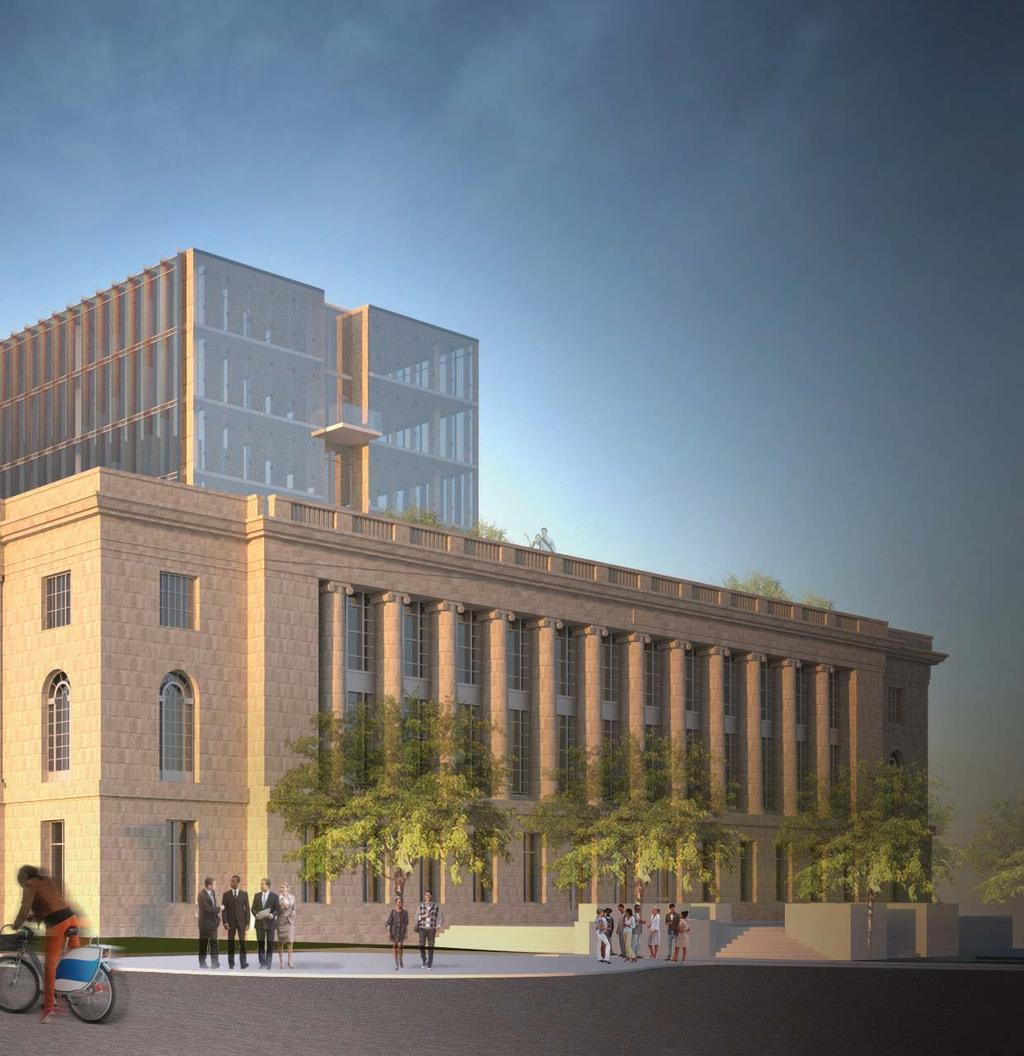 The new office building respectfully integrates with the symmetry of the Madison Municipal Building; the sophisticated