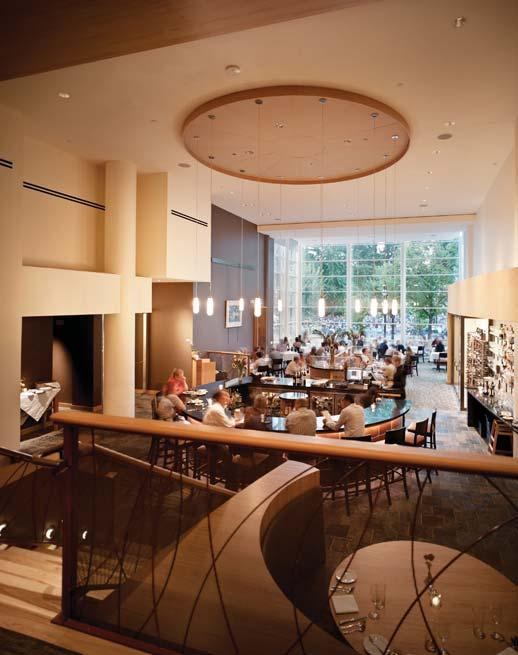 The soaring space, originally designed as the Bank s lobby hosts a re-imaged L Etoile, and reflects the restaurant s commitment to locally grown foods.
