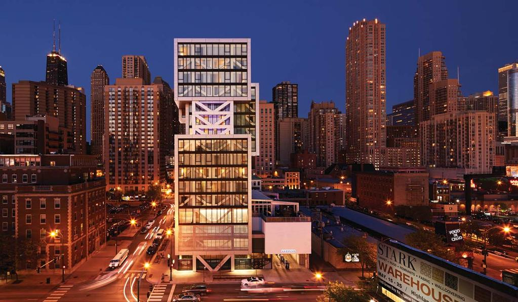 Godfrey Hotel CHICAGO, ILLINOIS - VDTA The form of the Godfrey Hotel is an expression of its staggered truss structural system invented by William LeMessurier in 1966.