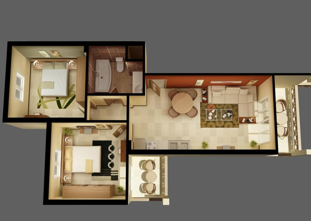 APARTMENT TYPES & PRICES TYPE C&D 2 bedroom apartment 98 m2 Living room: 7.42m*4m 1st bedroom: 4.1m*4.