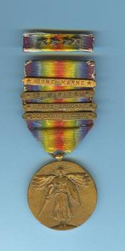 US WW1 Victory Medal For military service members who performed military service at Ypres-Lys Defensive