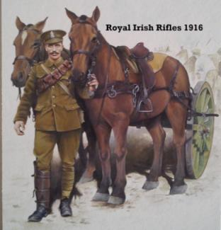 Claremen in the Royal Irish Rifles The Regiment raised 21 Battalions and was awarded 40 Battle honours and 3 Victoria Crosses losing 7,010 men during the course of the war.