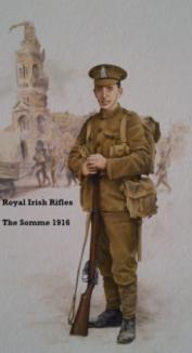 The following Claremen fought for the Royal Irish Rifles: Corofin: Patrick Scales. Ennis: Thomas Gallagher, William Fleck Johnston B.E., Edward James McNamara, Michael Murray.
