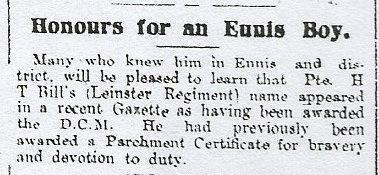 Claremen in the Leinster Regiment Pte H T Bill DCM: Ennis. Leinster Regiment. 2112.