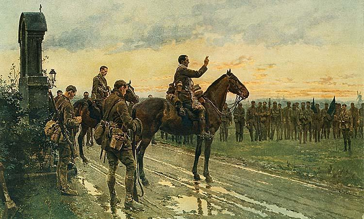 Claremen who died in Rue Du Bois 1915 The Last Absolution of the Munsters at Rue Du Bois, 1915 by Fortunino Matania.