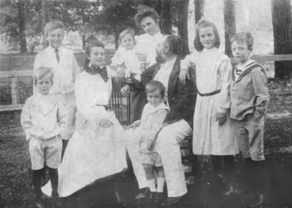 Herbert J. Tweedie Family under the maples probably in Wheaton - c. 1903 left to right: Herbert, Jr.