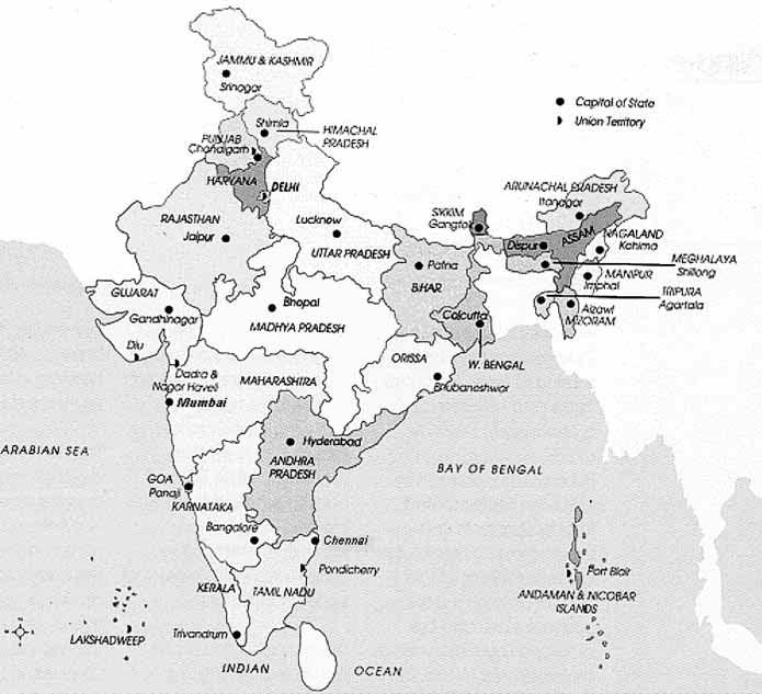 PLACES IN ASIA Map of India Assam Bengal Bombay Calcutta The most north easterly province of India, ceded to Britain in 1826.