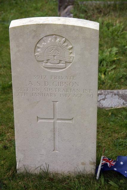 Photo of Pte A. S. D. Gibson s CWGC Headstone at St.
