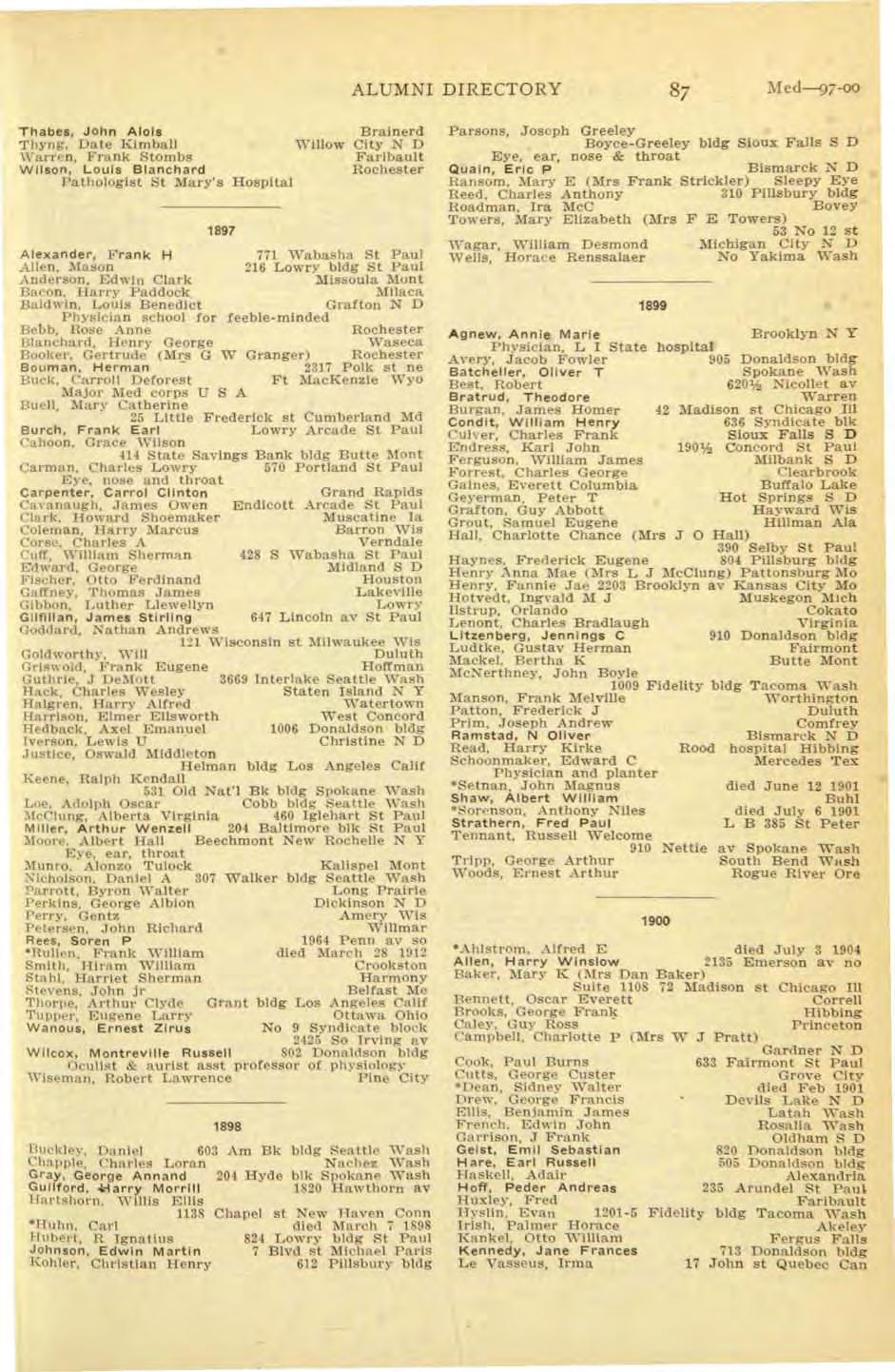 ALUMNI DIRECTORY i\fed---97-00 Thabes, John Alols Brainerd Thyng, Date Kimball Willow City N D '\\'arren, Frank Stombs Faribault Wilson, Louis Bla nchard Rochester Pathologist St Mary's Hospital 1897