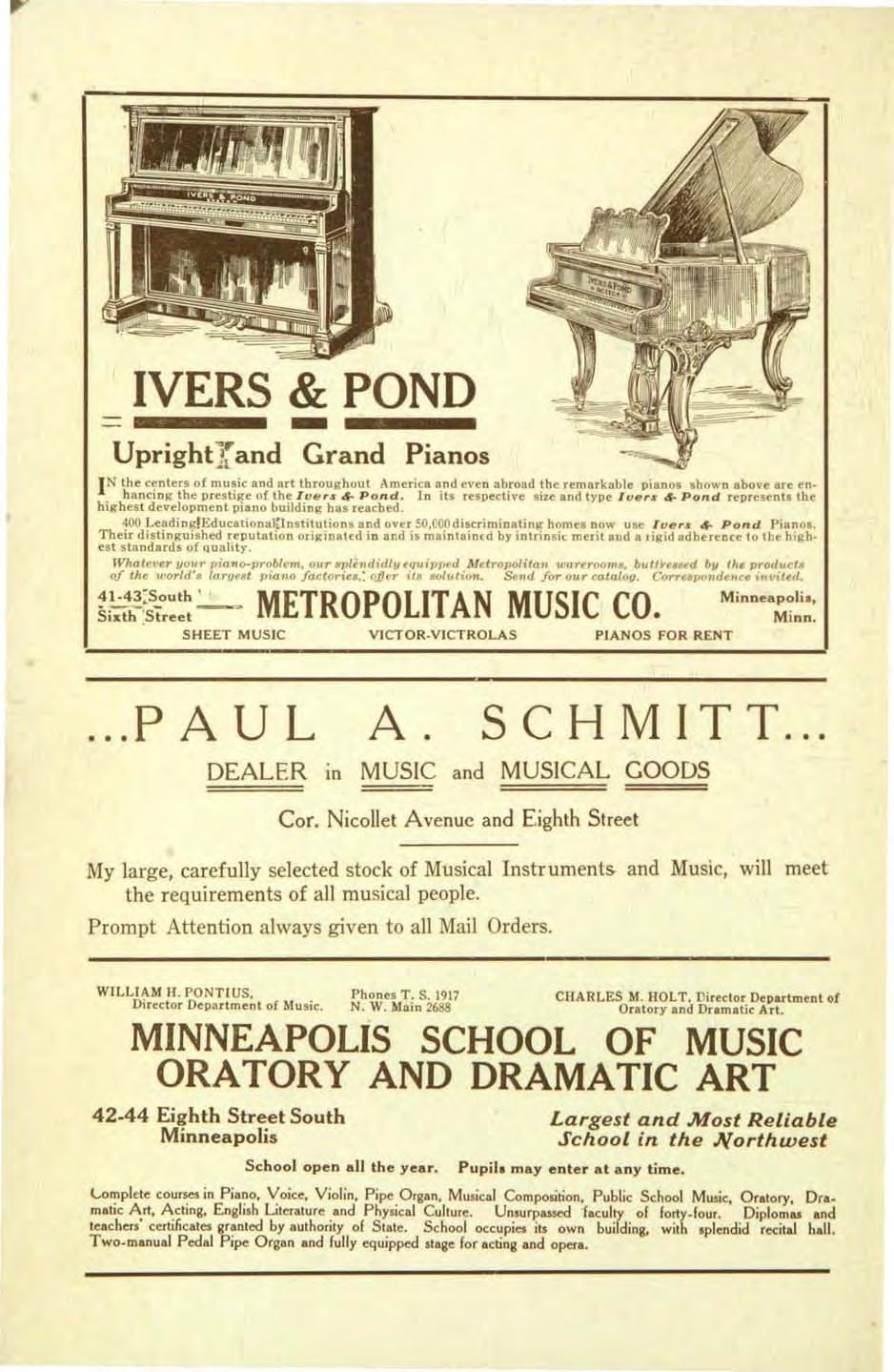 IVERS &- POND Uprightl and Grand Pianos IN the centers of music and art throughout America and even abroad the remarkable pianos shown above are en hancing the prestige of the Iue,s 4- Pond.