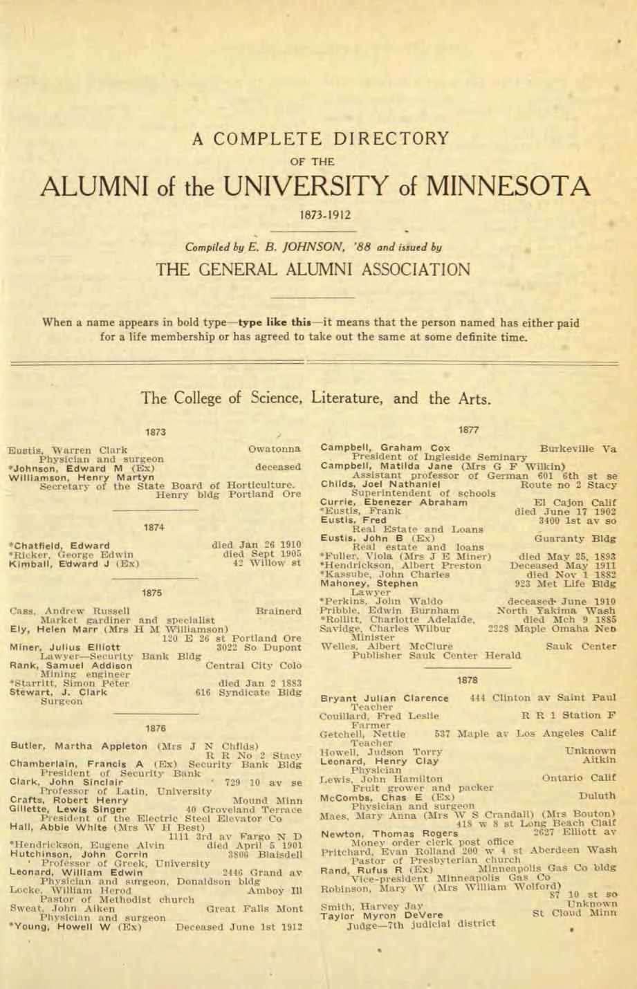 A COMPLETE DIRECTORY OF THE ALUMNI of the UNIVERSITY of MINNESOTA 1873-1912 Compiled by E, B. JOHNSON, '88 and ij.