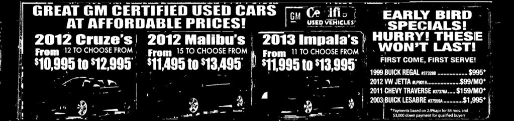 SALE PRCE 44,611 REAT GM CERTFED USED CARS AT AFFORDABLE PRCES!