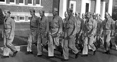During World War II more than 11,000 men trained at the University for service on land, at sea and in the air. The largest group (10,000) were the men in the Naval Training School.