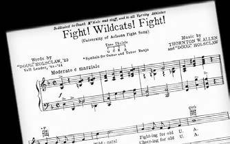Fight! Wildcats! Fight! Arizona s first fight song was Fight! Wildcats! Fight! written in 1929 by Dugald Stanley Holsclaw, Class of 1925.