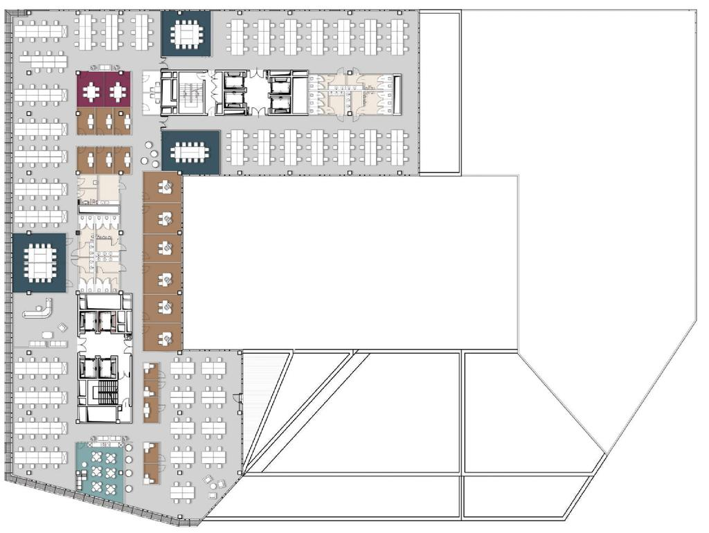 ONE CORPORATE TENANT SAMPLE ARRANGEMENT BUILDING LEVEL: 8th Floor OPEN SPACE OCCUPANT AREA: 2208,00m²