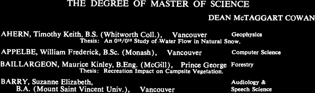 (Brit. Col.), Thesis: Romantic Motivation and North American Urban Design. 1974 THE DEGREE OF MASTER OF SCIENCE IN NURSiNG DEAN McTAGGART COWAN COLLINGWOOD, Edna Dale, B.S.N. (Brit. Col.), White Rock FEWSTER, Mary, B.