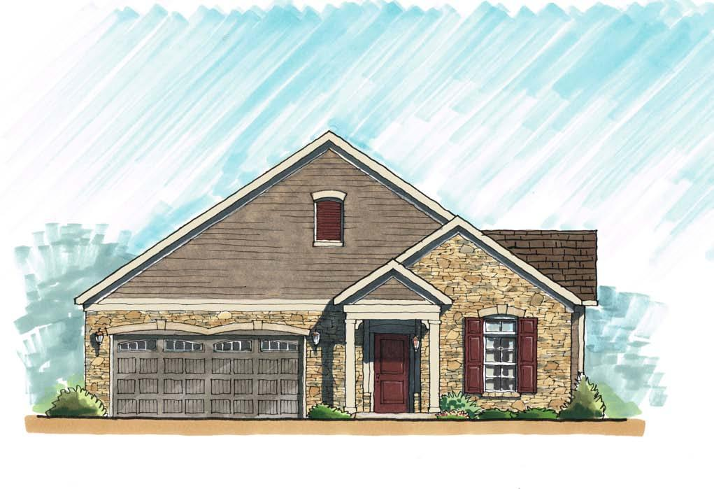 Traditional high pitch roof Cultured stone fronts and stone water table Low-e glass windows