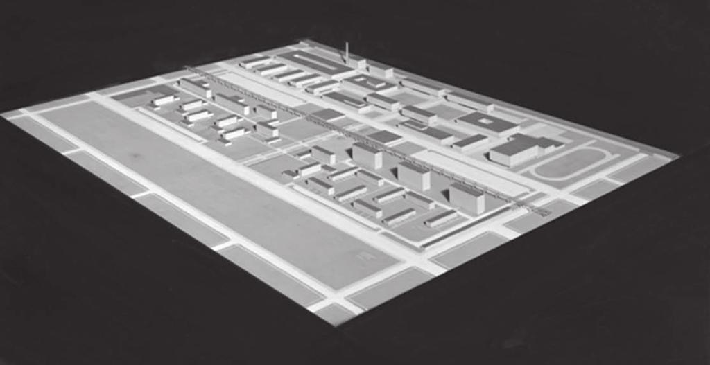 (juxtaposed to a 1943 version of Mies's academic campus model).