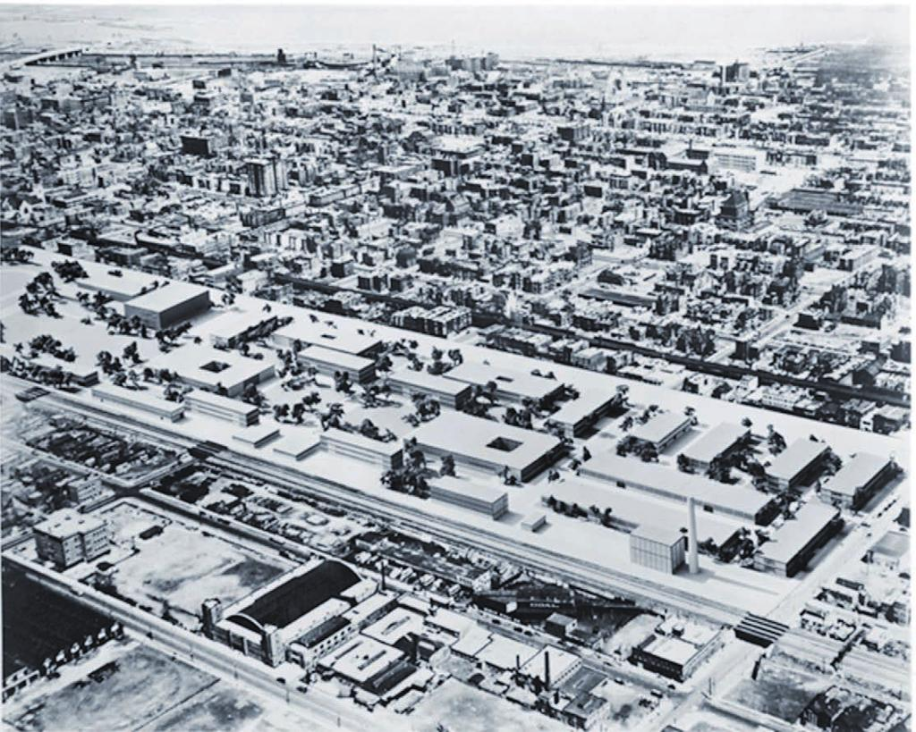 EXPANSION, 1946-50: CITY PLANNING BY MEANS OF ARCHITECTURE 5.31 Photomontage of a model of Mies's iit campus Master Plan (3 rd version), inserted in its urban context, c.1950.