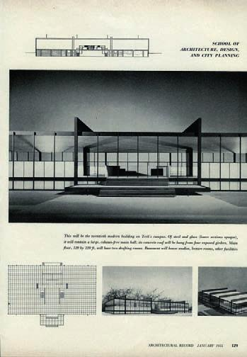 During its design, Mies experimented with a variety of forms.