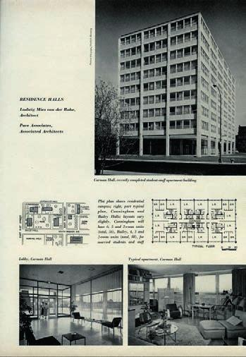 11 Exterior view of iit residential group compounded by Carman, Bailey, and Cunningham Halls, 1953-55.