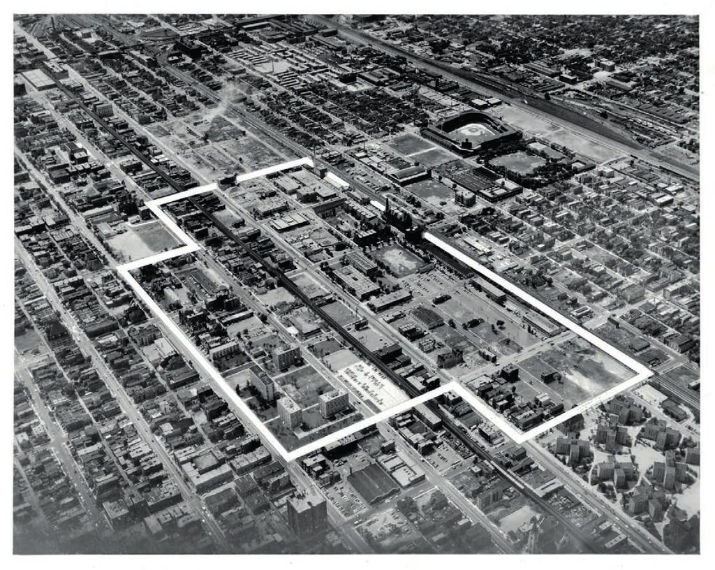 URBAN SCALE AND CLEAR STRUCTURE, 1951-59 6.15 Aerial view of iit campus in 1955, as seen from ne, with the limits of its expansion Master Plan highlighted.