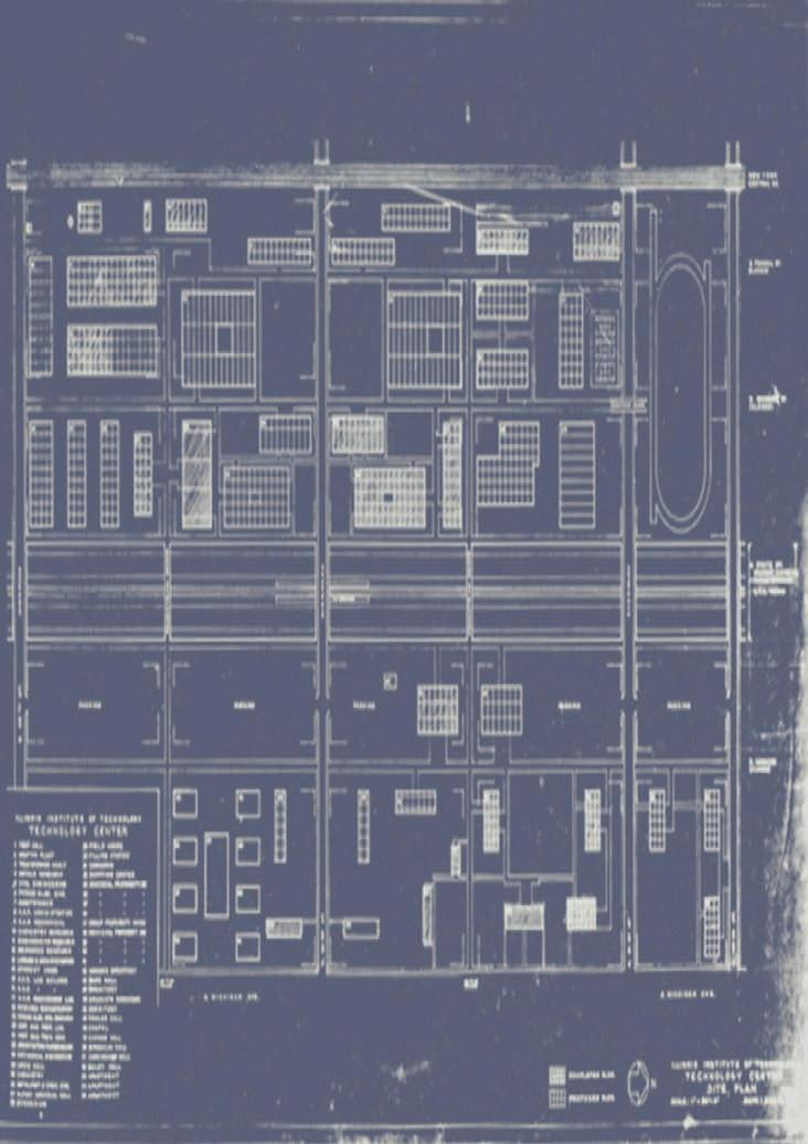 URBAN SCALE AND CLEAR STRUCTURE, 1951-59 2 2 1 3 6.18 Mies's iit campus Master Plan, blueprint of final design, c.1955 (right); Hilberseimer's diagram of his Settlement Unit scheme (above).