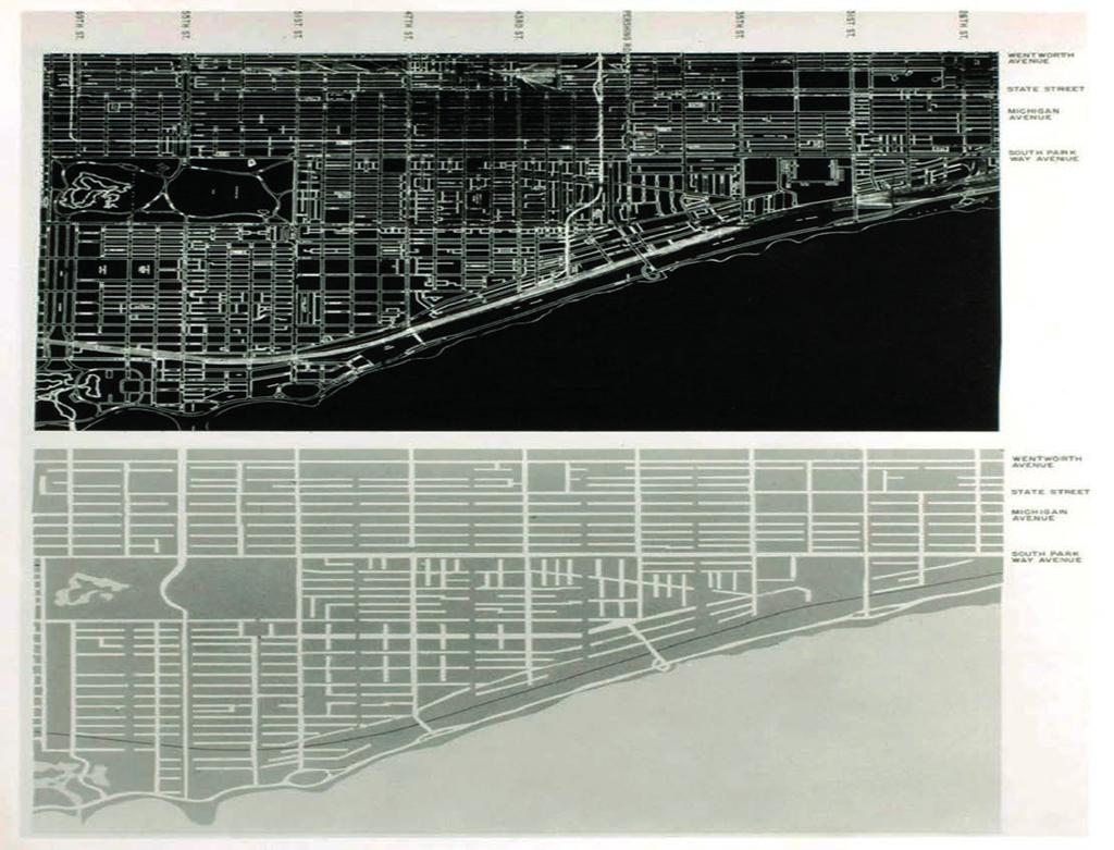OPERATIVE SCHEMES TO STRUCTURE URBAN SPACE 6.19 Hilberseimer's Traffic Redevelopment Plan for the South Side of Chicago (above); Chicago.