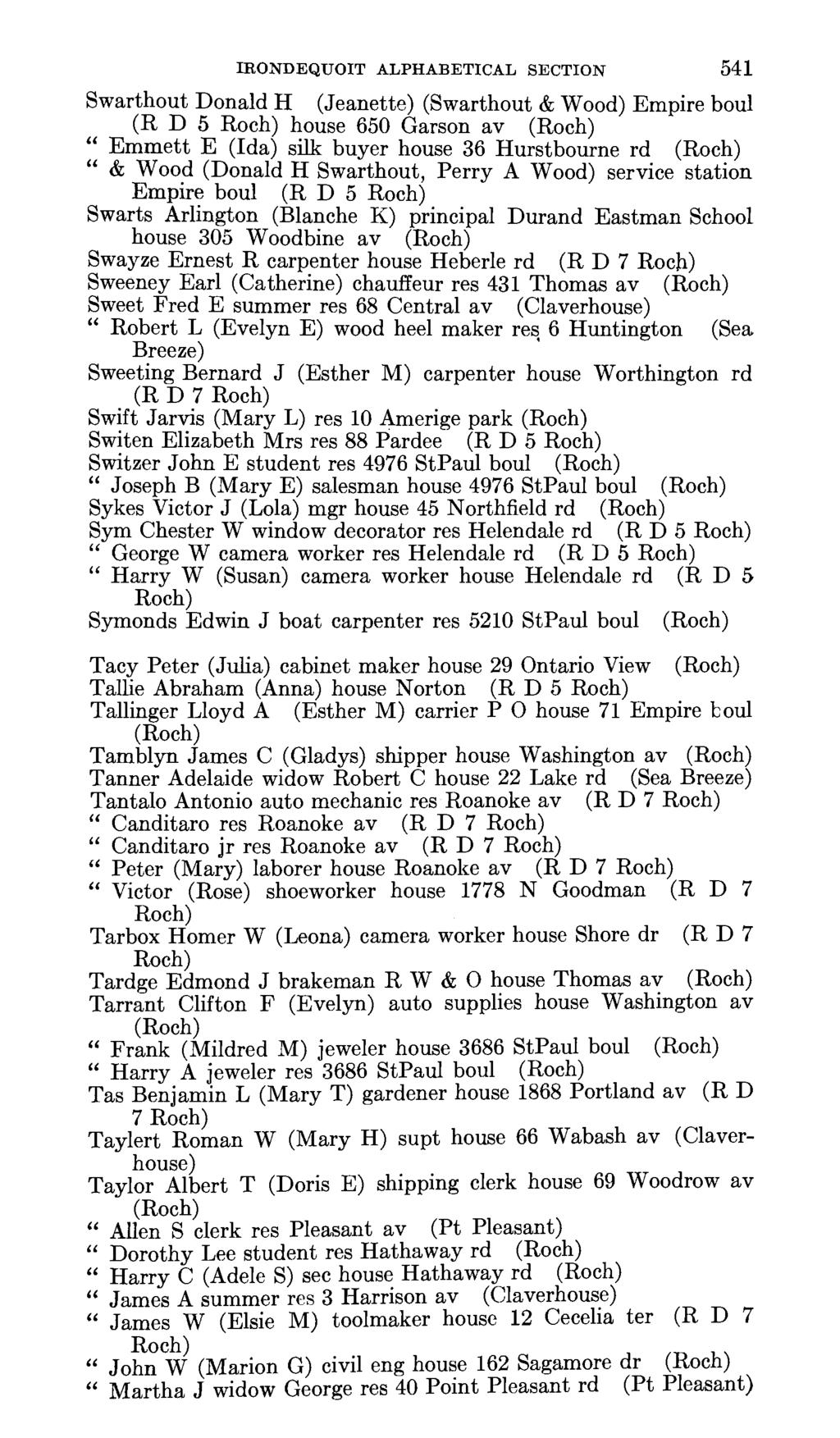 IRONDEQUOIT ALPHABETICAL SECTION 541 Swarthout Donald H (Jeanette) (Swarthout & Wood) Empire boul (R D 5 house 650 Garson av Emmett E (Ida) silk buyer house 36 Hurstbourne rd & Wood (Donald H